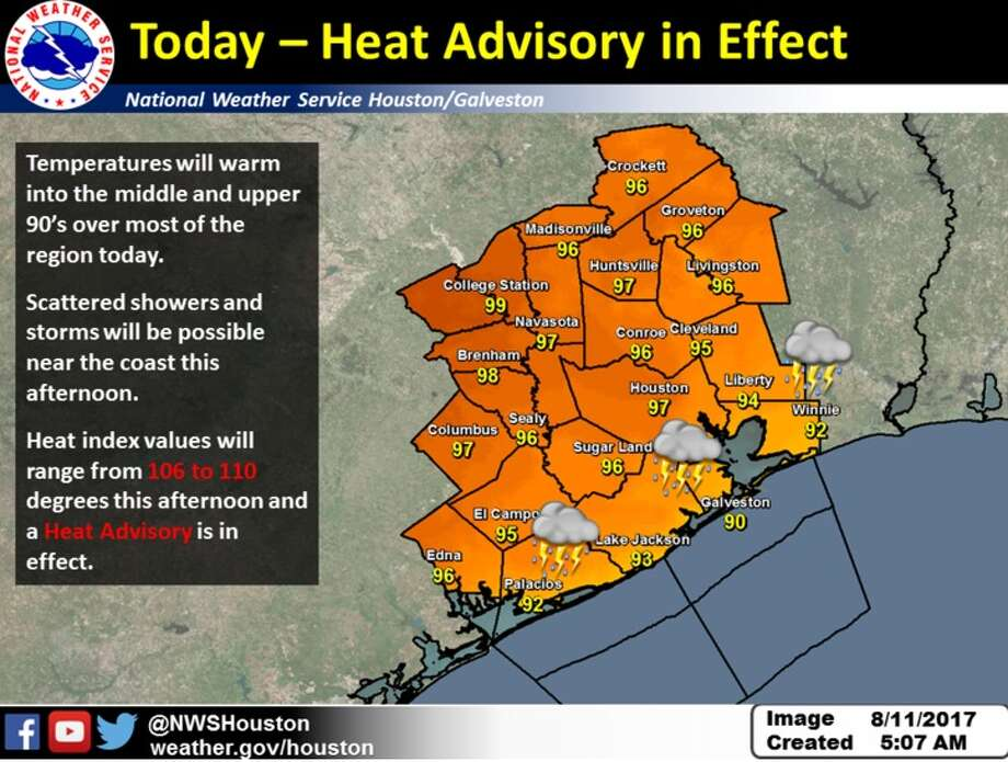 The National Weather Service issued a heat advisory for southeast Texas on Aug. 11, 2017. The advisory is expected to last through the weekend and possibly into next week.See tips on how to stay cool if you're going to be outside in the Houston heat this weekend. Photo: The National Weather Service