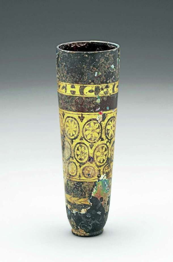 Inscribed Cup with a Palmette Band, Roman, Eastern Mediterranean, possibly Syrian, 3rd–4th century A.D. Free-blown glass with gold leaf. Photo: Photo Courtesy Of YUAG