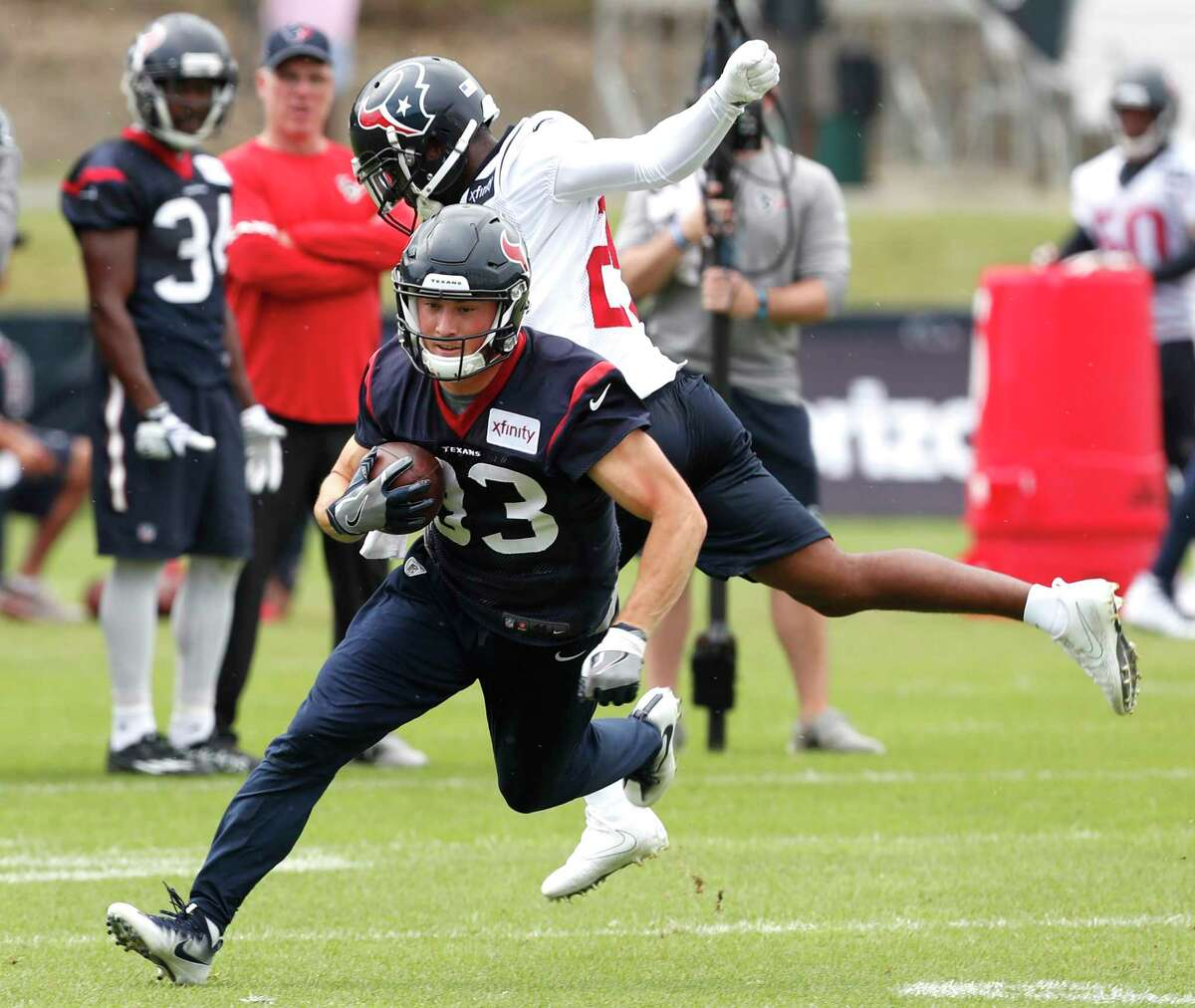 Houston Texans wide receiver Riley McCarron (83) turns upfield after making a catch during training camp at The Greenbrier on Friday, Aug. 11, 2017, in White Sulphur Springs, W.Va.