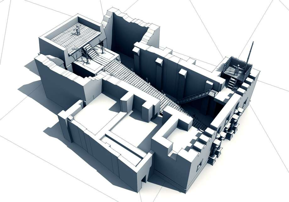 Initial 3D rendering of the Alamo church, top view from the left. These are preliminary renderings, and are being revised to increase accuracy and detail. Textures, additional buildings, cannons and walls as well as ground textures and plants will be added as the process continues. Photo: Courtesy Of Imagine Virtua /Alamo Reality