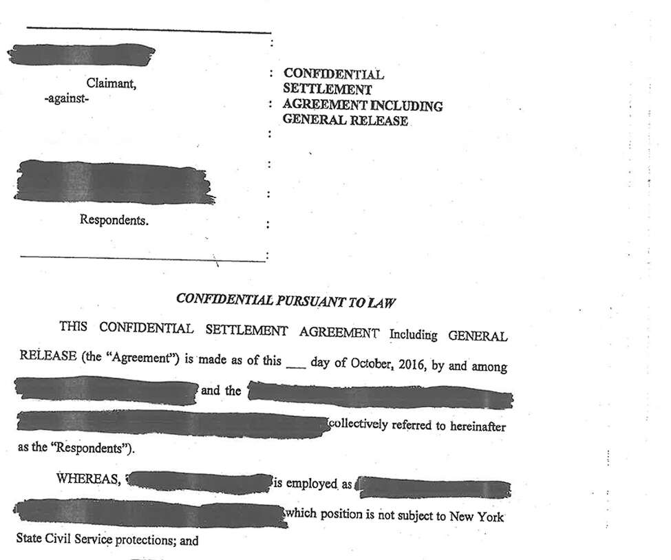 The Town of Milton released a heavily redacted version of the confidential settlement to the Times Union.