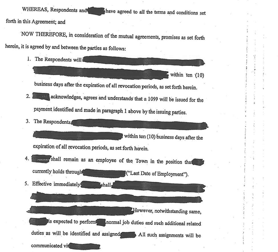 The terms of the settlement were redacted by the town of Milton.