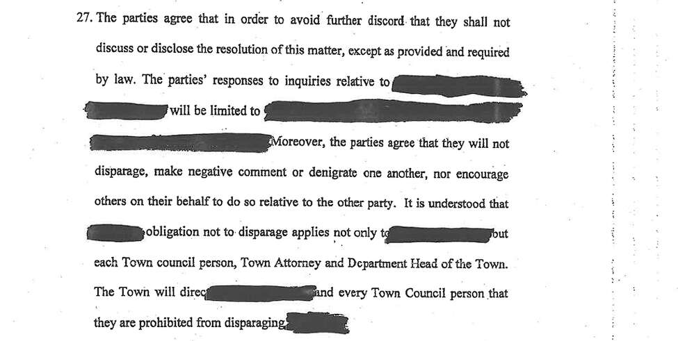 Terms of non-disclosure in the redacted settlement document.