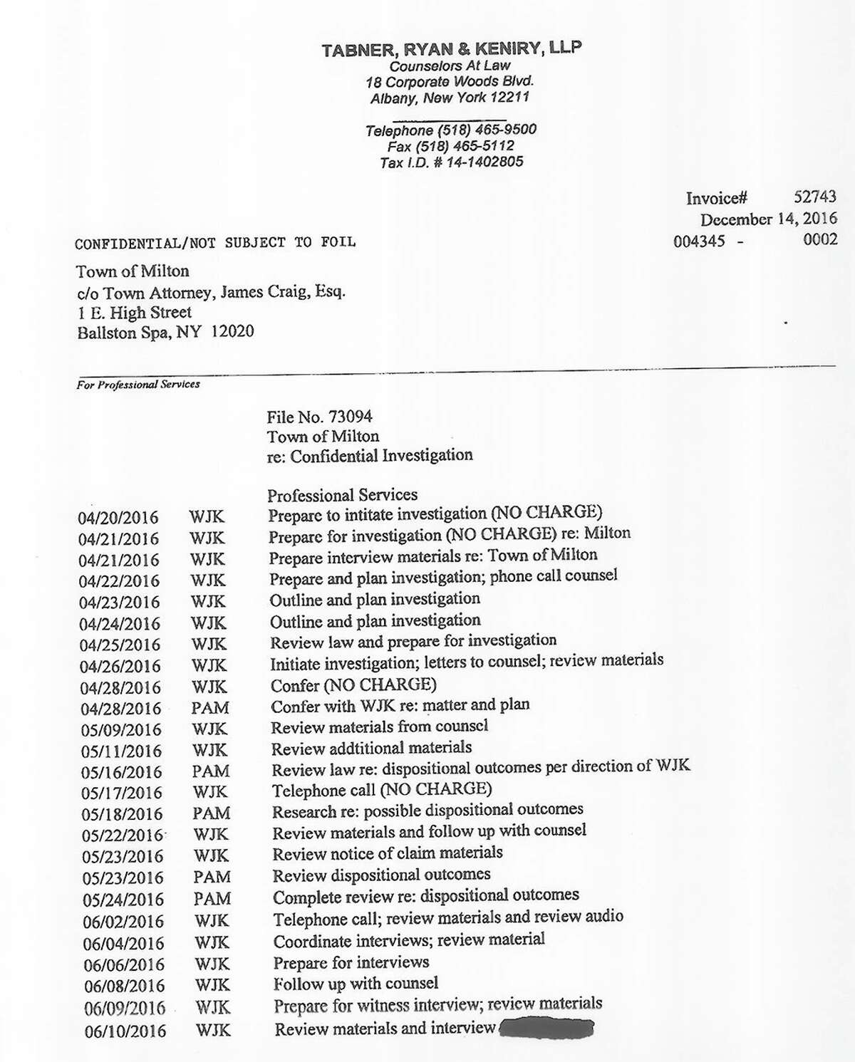 An itemized invoice from the law firm hired by Daniel P. Lewza to investigate town officials and others that Lewza suspected of leaking information about the case.