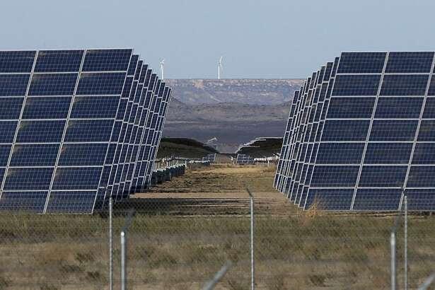 These solar panels are part of the 110-megawatt Alamo 6 solar power plant built by San Antonio-based OCI Solar Power in Pecos County.