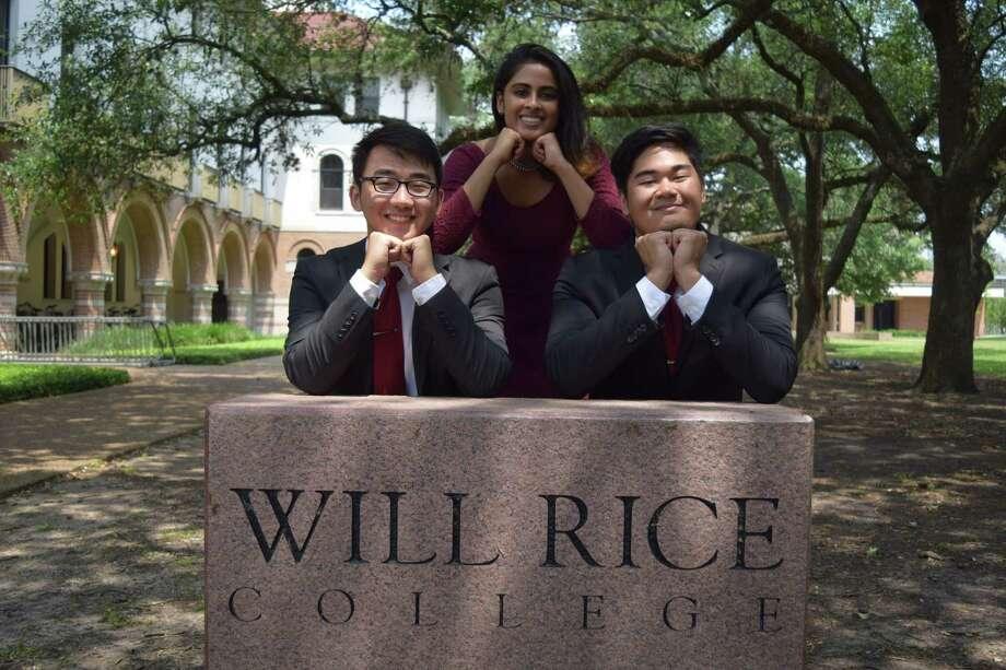 Rice University students, from left, Carey Wang, Tanvi Varadhachary and Thuc Truong. Photo: Courtesy Photo