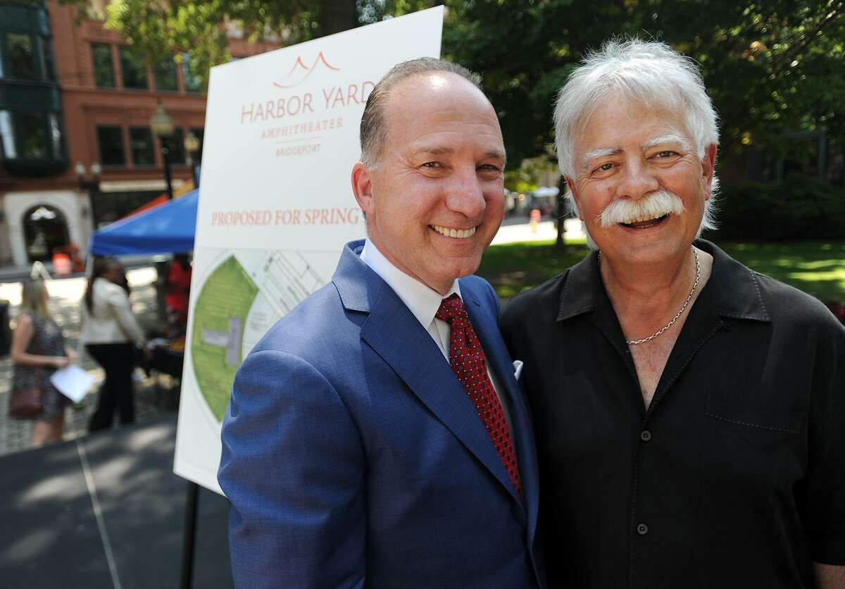 Howard Saffan, left, owner of SportsCenter of Connecticut, and Jim Koplik, regional president of concert promoter Live Nation, following the Harbor Yard Amphitheater announcement on Thursday, August 10, 2017. The Harbor Yard Ballpark, currently home to the Bridgeport Bluefish baseball club, will reopen as a boutique amphitheater concert venue in 2019.