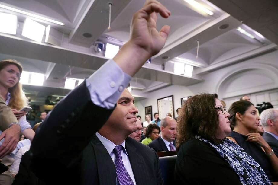 """Jim Acosta, CNN senior White House correspondent , waits to be called on by Stephen Miller, a Trump adviser. Miller called Acosta's remarks """"ignorant and foolish during an exchange on a merit-based immigration system, and they were. Photo: Chip Somodevilla / Getty Images / 2017 Getty Images"""