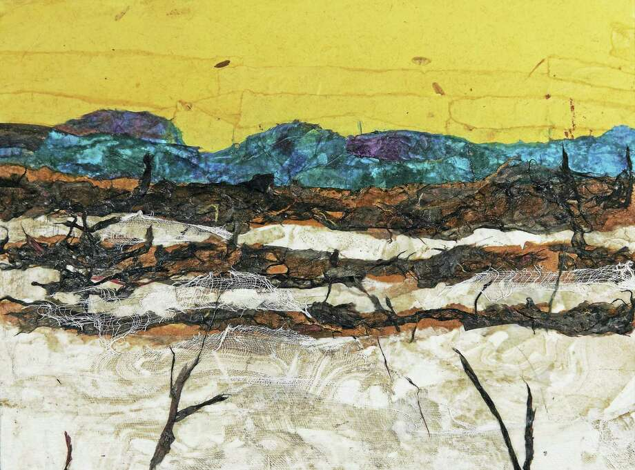 Landscape collage by Regina Thomas, exhibited at the Spectrum Gallery in Centerbrook. Photo: Image Courtesy Of The Artist