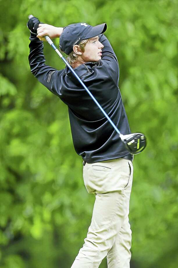 Chris Fosdick of Xavier drives on hole 18 of the SCC golf championship at Race Brook Country Club in Orange on Tuesday. Photo: (Arnold Gold-New Haven Register)