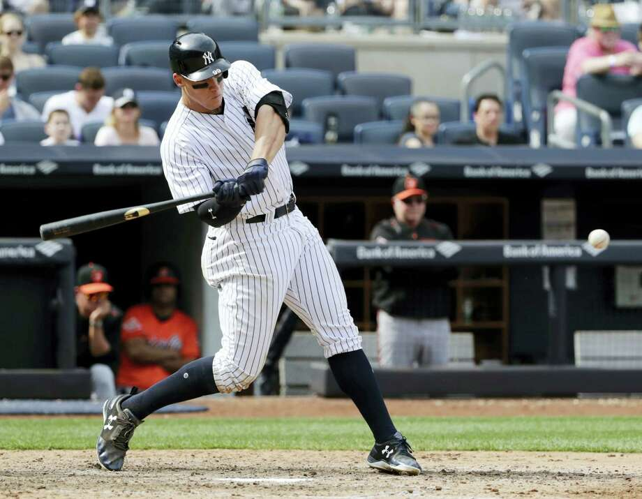 Register columnist says while the Yankess are overachieving at the moment, every plate appearance by Aaron Judge has become must watch television. Photo: Frank Franklin – The Associated Press  / Copyright 2017 The Associated Press. All rights reserved.