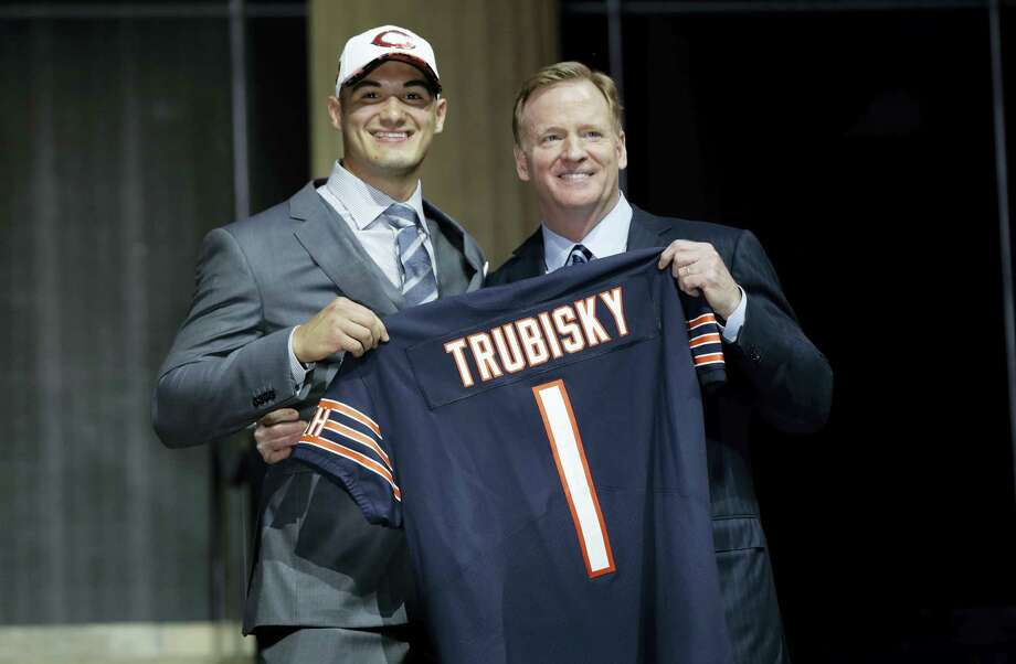 North Carolina's Mitch Trubisky, left, poses with NFL commissioner Roger Goodell after being selected by the Chicago Bears during the first round of the 2017 NFL football draft, Thursday, April 27, 2017, in Philadelphia. (AP Photo/Matt Rourke) Photo: AP / Copyright 2017 The Associated Press. All rights reserved.