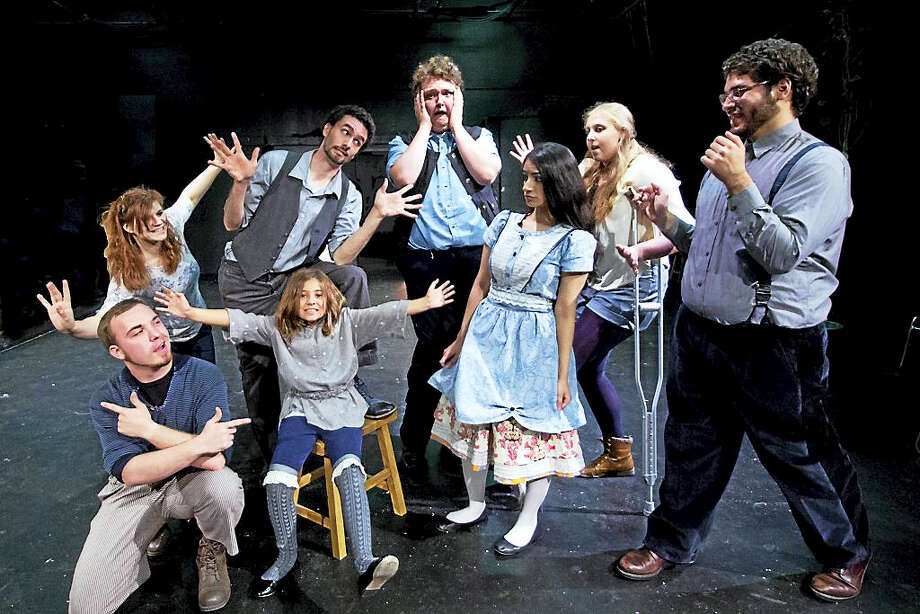 """The cast of """"Alice in Wonderland"""" front row, from left, are Jesse Burke, Caitlin Tellier and Suomia Dode; back row, fromleft, are Kate Bunce, Alex Kirstukas, Adam Cormier, Remony Perlman and Luis Marrero. Photo: Photo By Arienne Davey"""