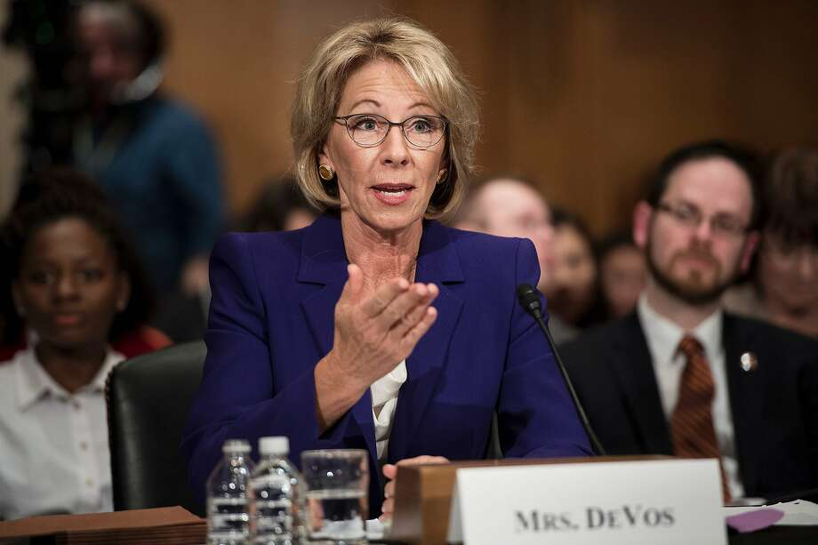 Betsy DeVos, pictured above speaks during her confirmation hearing for secretary of education before the Senate Health, Education, Labor, and Pensions Committee. Sen. Patty Murray sits on the committee. Photo: BRENDAN SMIALOWSKI, AFP/Getty Images