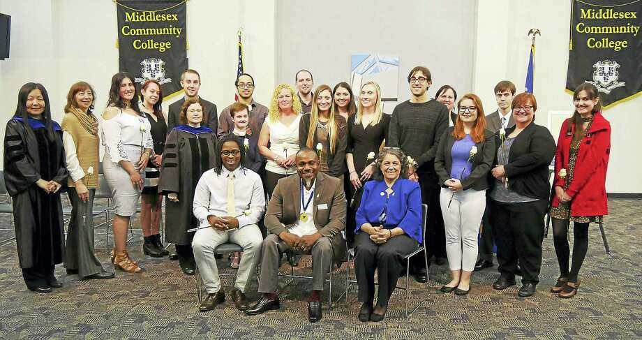 The Middlesex Community College chapter of Phi Theta Kappa, Beta Gamma Xi, inducted 57 new members recently. Photo: Contributed Photo