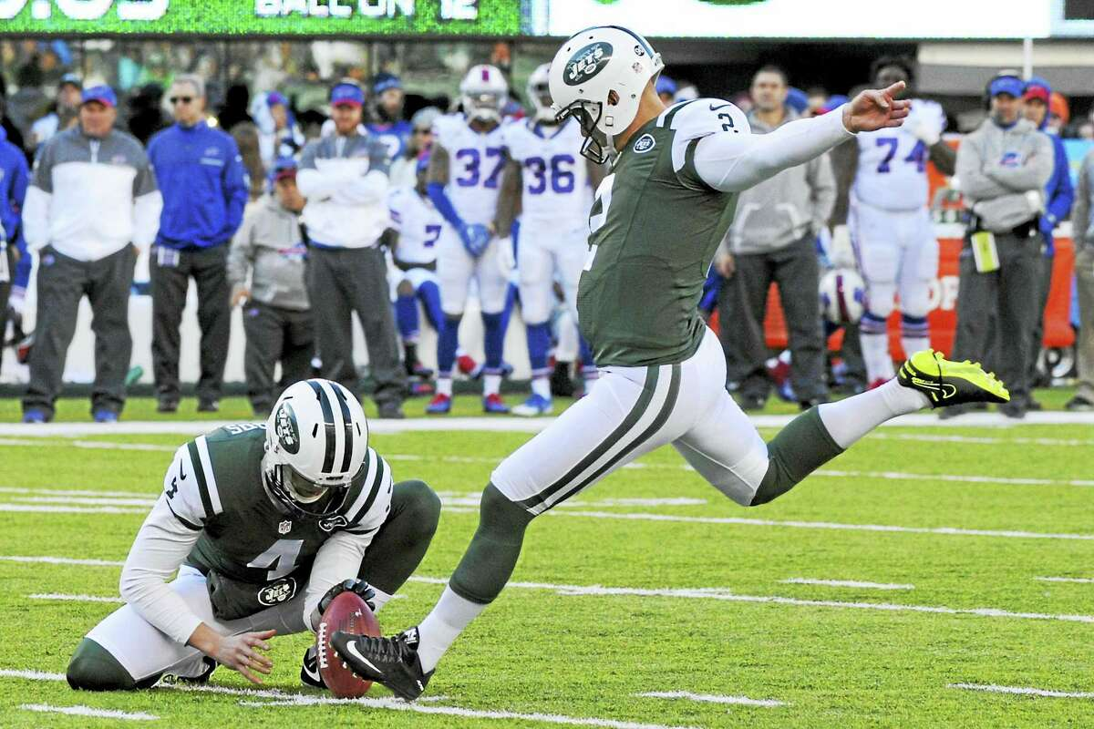 Kicker Nick Folk (2) was released by the Jets on Thursday.