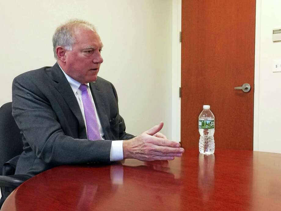 Attorney General George Jepsen talks with the New Haven Register editorial board recently. Photo: Viktoria Sundqvist — New Haven Register