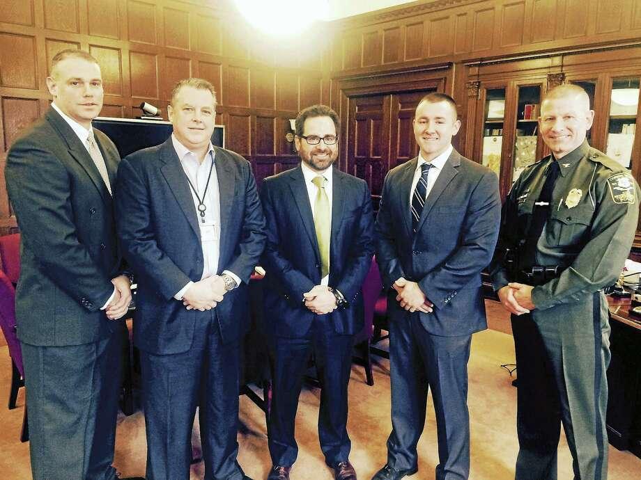 From left, Officer Vincent Mazzota, DEEP Bureau Chief Michael Lambert, DEEP Commissioner Robert Klee, Officer Dakota Flis and Colonel Kyle Overturf. Photo: Courtesy DEEP