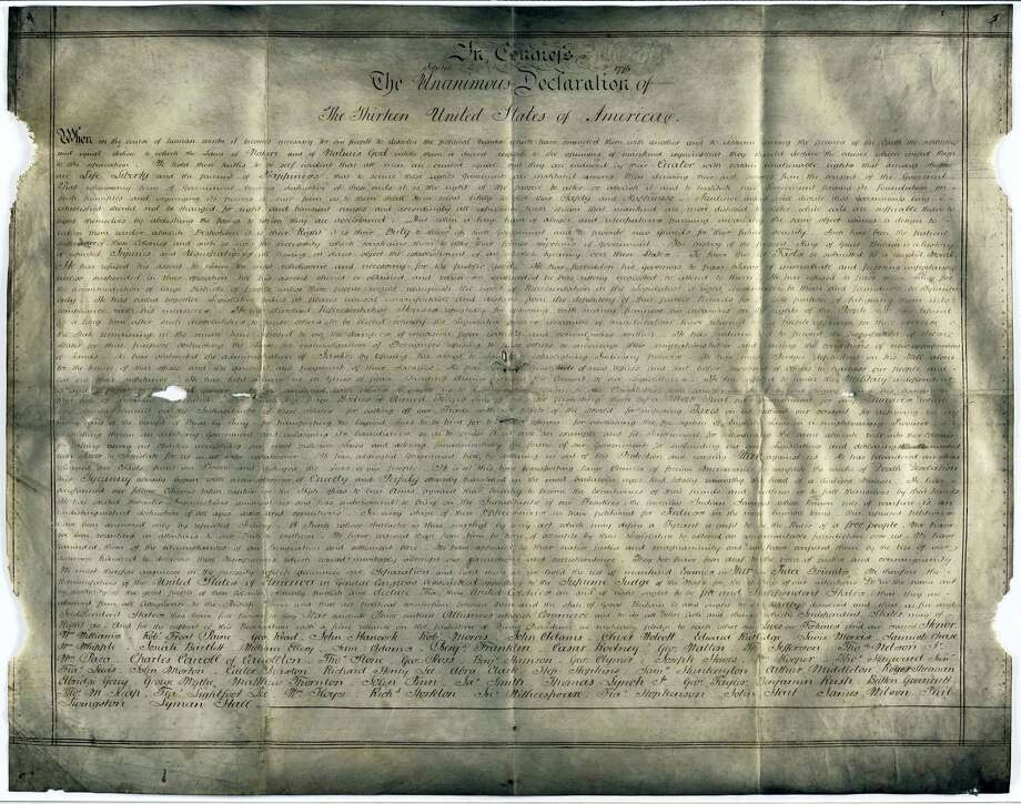 Undated handout photo of a parchment manuscript of the U.S. Declaration of Independence, believed to date from the 1780s and found in a records office in Chichester, southern England. Harvard University researchers say they've discovered a second parchment copy of the Declaration of Independence, The Boston Globe reported Friday, April 21, 2017. Photo: West Sussex Record Office Add Mss 8981 Via AP   / Copyright (C) reserved