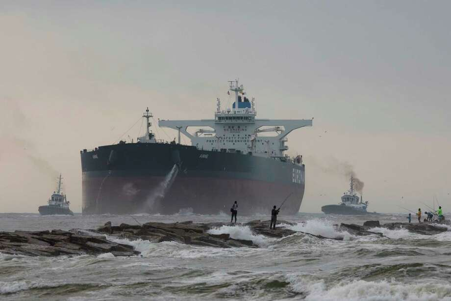 The largest tanker to dock in a Gulf of Mexico port enters the Port of Corpus Christi shipping channel in May. Photo: Courtney Sacco, MBR / Corpus Christi Caller-Times