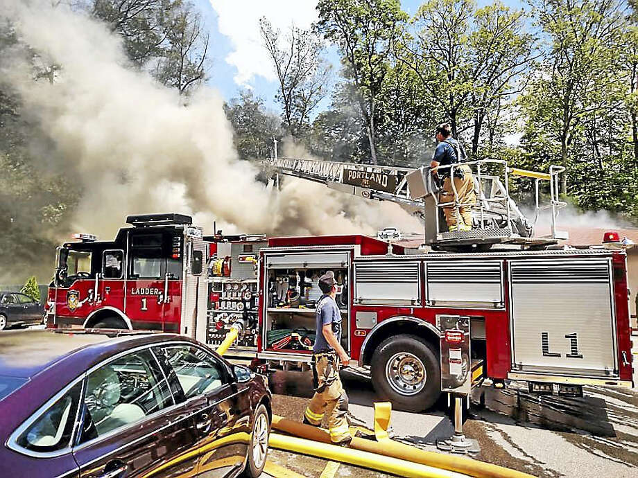 Portland and East Hampton fire crews were aided by the towns of Colchester, Cromwell, East Haddam, Haddam Neck, Glastonbury, Marlborough, Middletown and the Westfield area of Middletown in fighting the blaze. Photo: Courtesy Portland Fire Department