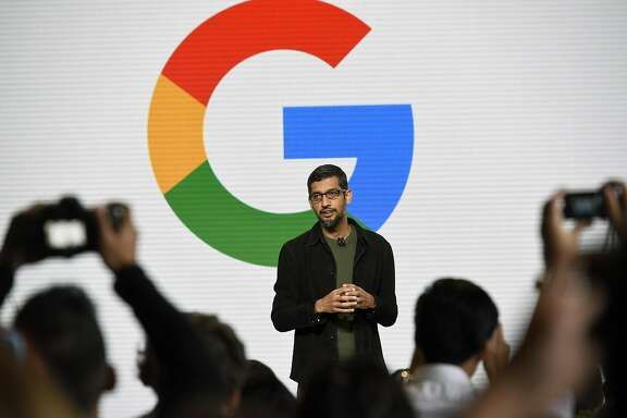 Sundar Pichai, chief executive officer of Google Inc., speaks during a Google product launch event in San Francisco, California, U.S., on Tuesday, Oct. 4 2016. Google is embarking on a wholesale revamp of its mobile phone strategy, debuting a pair of slick and powerful handsets that for the first time will go head-to-head with Apple Inc.'s iconic iPhone. Photographer: Michael Short/Bloomberg
