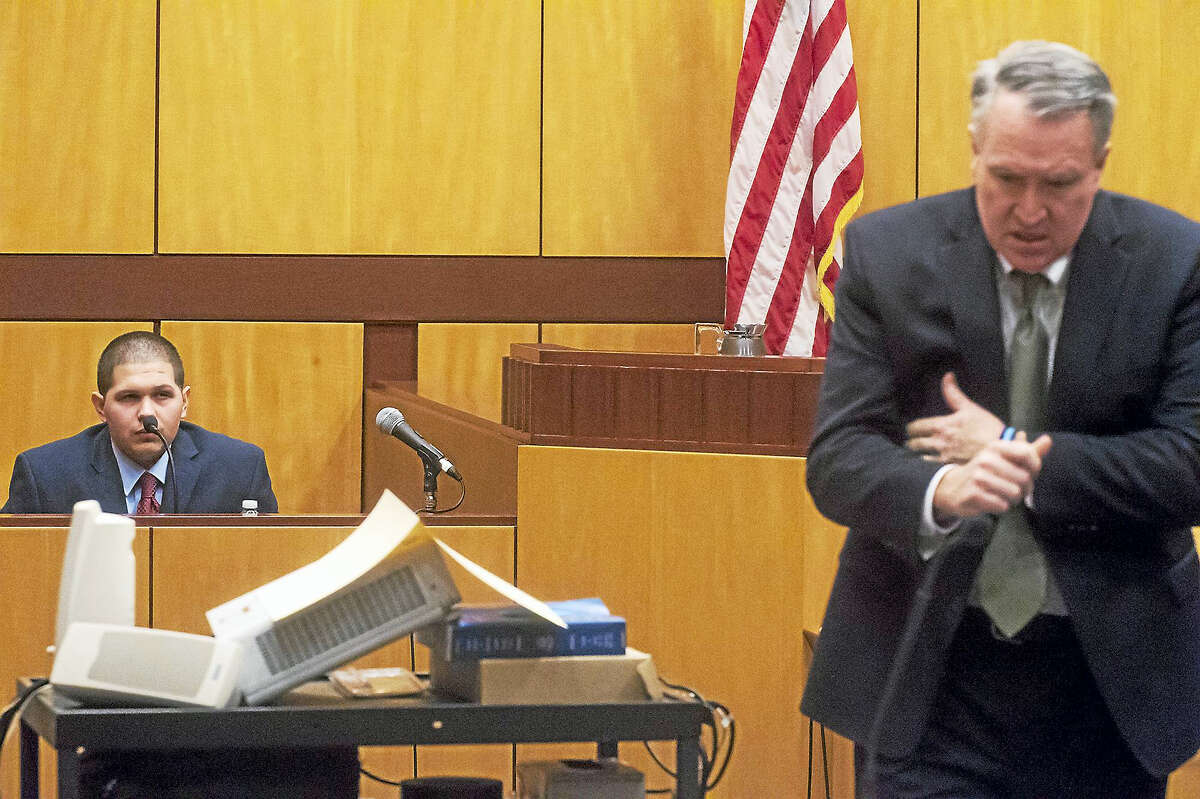 Tony Moreno is cross-examined by State's Attorney Peter McShane during the fifth day of testimony in his murder trial at Middlesex Superior Court in Middletown on Friday morning.