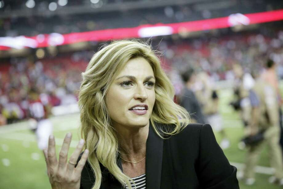 In this Oct. 30, 2016, file photo, Fox Sports broadcaster Erin Andrews, left, speaks with Atlanta Falcons wide receiver Julio Jones after the second of an NFL football game against the Green Bay Packers in Atlanta. The Atlanta Falcons won 33-32. Andrews revealed in an interview with Sports Illustrated's MMQB that was published online on Jan. 24, 2017, that she battled cervical cancer during the NFL season. Photo: AP Photo/David Goldman, File   / Copyright 2016 The Associated Press. All rights reserved.
