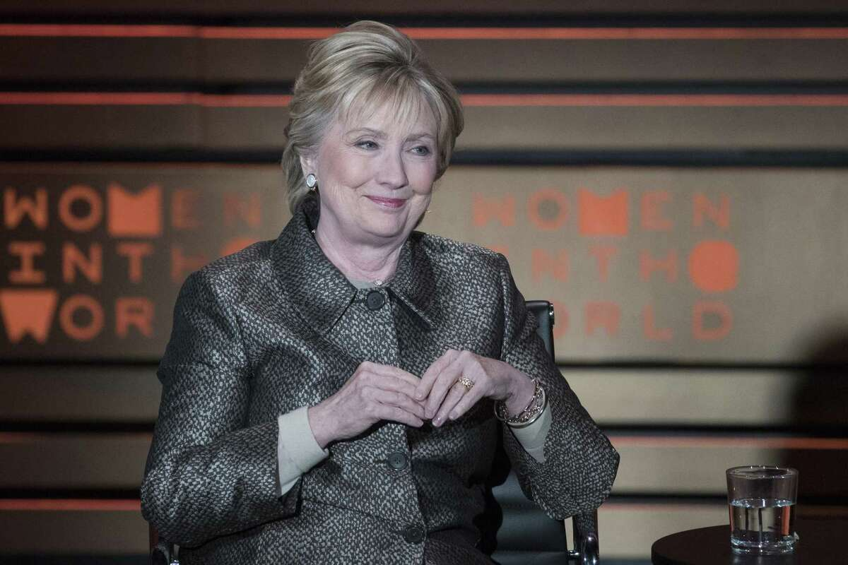 Hillary Clinton speaks during the Women in the World Summit in April. A reader says this nation is not ready for a woman president - especially one named Clinton - and calls Donald Trump a better choice.