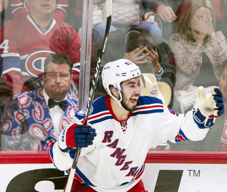 Rangers center Mika Zibanejad (93) celebrates after scoring during overtime on Thursday. Photo: Ryan Remiorz — The Canadian Press Via AP  / The Canadian Press