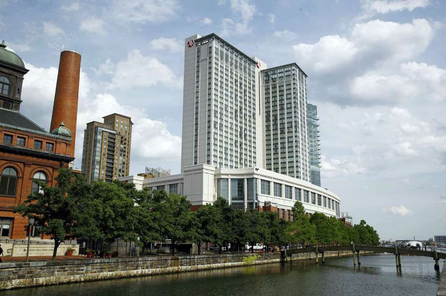 """This June 29, 2017 photo shows the Marriott Hotel in Baltimore's Harbor East district. In sales brochures, a U.S. company boasted of the """"stunning visual effect"""" its shimmering aluminum panels created in an NFL stadium, an Alaskan school and a 33-story hotel on Baltimore's waterfront.  Those same panels also were used in London's Grenfell Tower. British authorities are examining whether the panels helped spread the fire that ripped across the apartment building's outer walls, killing at least 80 people. Photo: Patrick Semansky / AP Photo  / Copyright 2017 The Associated Press. All rights reserved."""