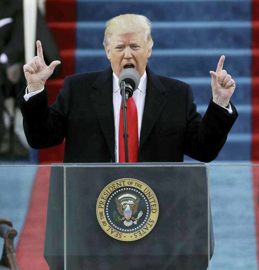 President Donald Trump delivers his inaugural address after being sworn in as the 45th president of the United States during the 58th Presidential Inauguration at the U.S. Capitol in Washington Friday. Photo: AP Photo — Patrick Semansky   / Copyright 2017 The Associated Press. All rights reserved.