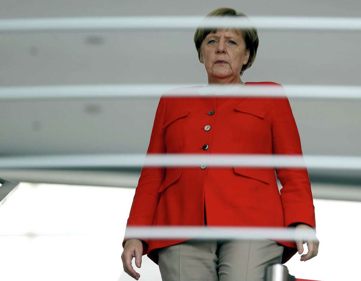 German Chancellor Angela Merkel arrives for a reception for the round table 'Women in Culture and Media' at the chancellery in Berlin, Germany, Monday, July 17, 2017. Merkel celebrated her 63rd birthday July 17.