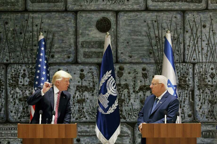 Israeli President Reuven Rivlin listens as President Donald Trump speaks in Jerusalem on Monday, May 22, 2017. Photo: AP Photo — Evan Vucci  / Copyright 2017 The Associated Press. All rights reserved.