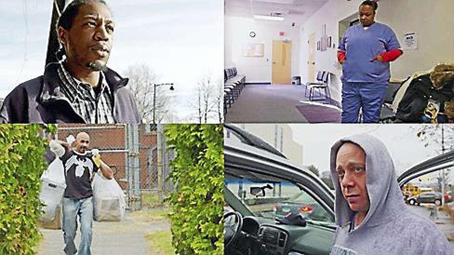 Clockwise from top left: Vaughn Gresham, Jessica Porter, Rob Sullivan and Erroll Brantley Photo: PBS Frontline / CPTV