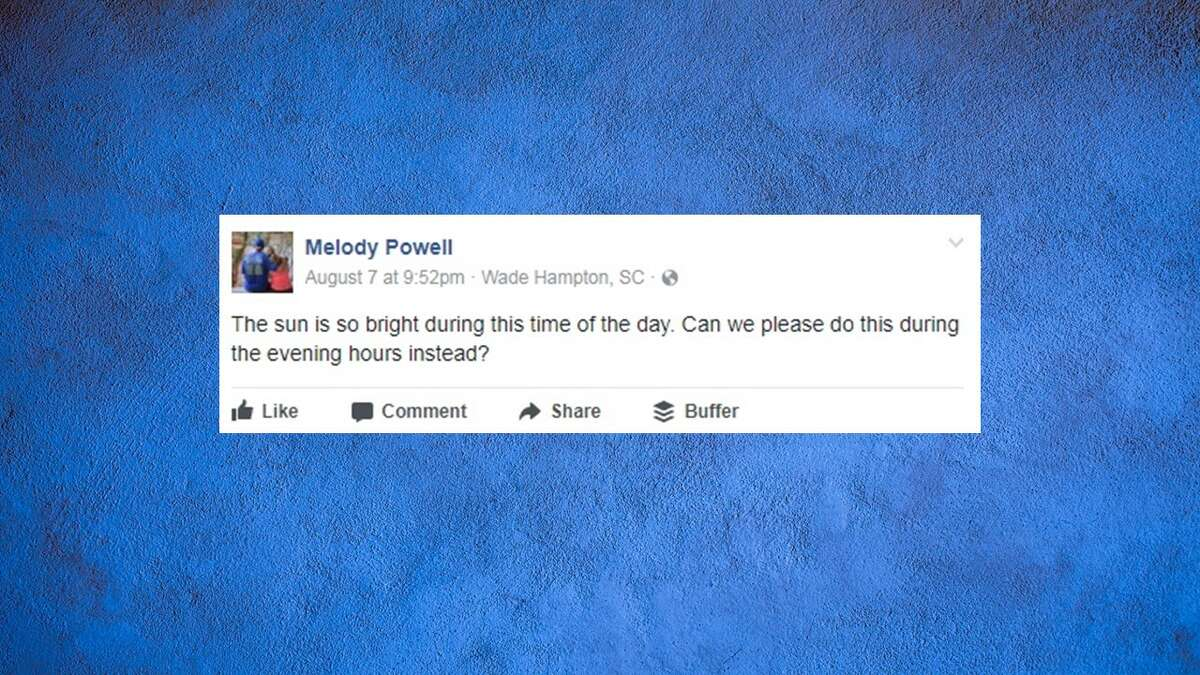 A mother got more than she bargained for when she asked if a Facebook event for the Aug. 21, 2017 solar eclipse could be rescheduled.Image source:Facebook