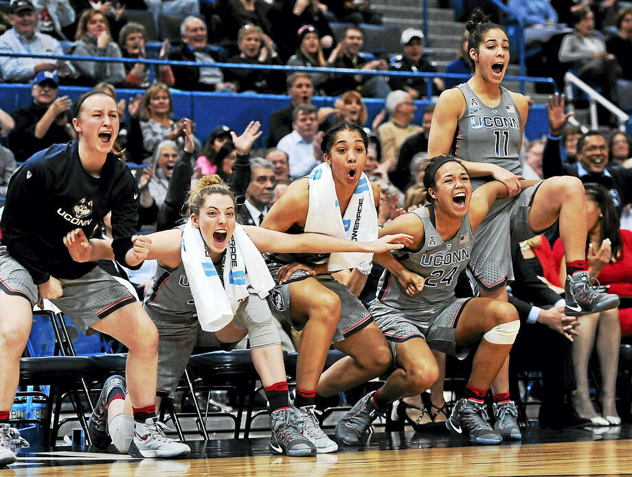 From left, UConn's Tierney Lawler, Katie Lou Samuelson, Gabby Williams, Napheesa Collier and Kia Nurse celebrate during a win earlier this season. Photo: Jessica Hill — The Associated Press File Photo  / AP2017