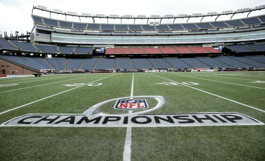 A freshly painted AFC championship logo rests on the field at Gillette Stadium. Photo: The Associated Press  / AP