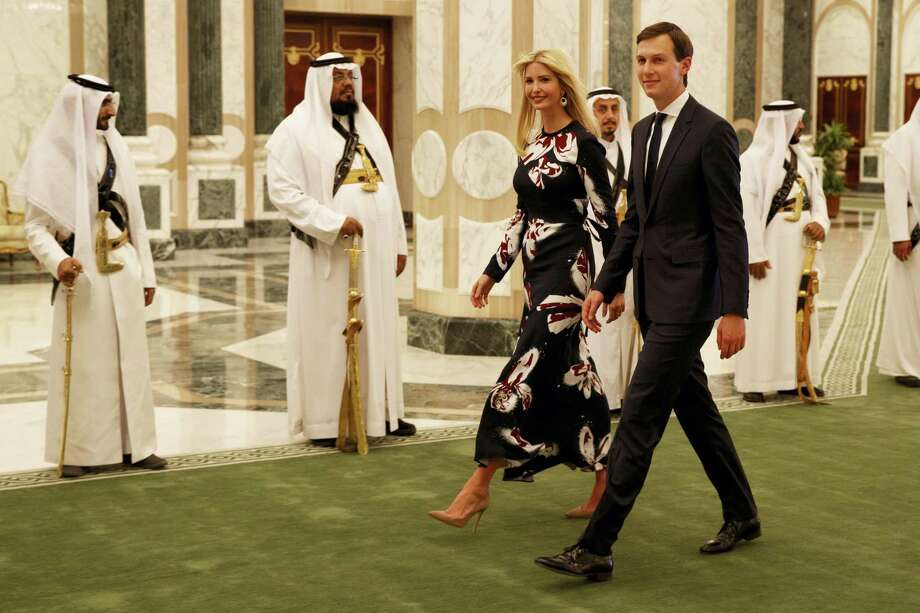 In this Saturday, May 20, 2017, file photo, White House senior adviser Jared Kushner, right, walks with Ivanka Trump at the Royal Court Palace, in Riyadh, Saudi Arabia. Trump's son-in-law Jared Kushner and Saudi Arabia's newest heir to the throne Mohammed bin Salman, or MBS as he is known, have skyrocketed to power and been entrusted with a wealth of responsibilities and wide-ranging duties, even though neither had the experience or that comes with years of government service. Photo: Evan Vucci / AP Photo, File  / Copyright 2017 The Associated Press. All rights reserved.