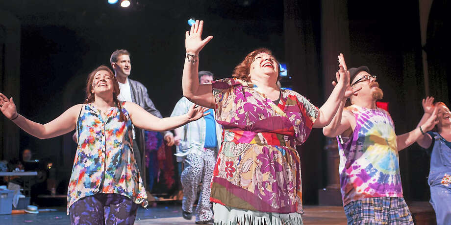 """Little Theatre of Manchester cast members perform a scene from """"Godspell."""" The show wraps up this weekend, with shows Friday, Saturday and Sunday. Photo: Contributed Photos"""