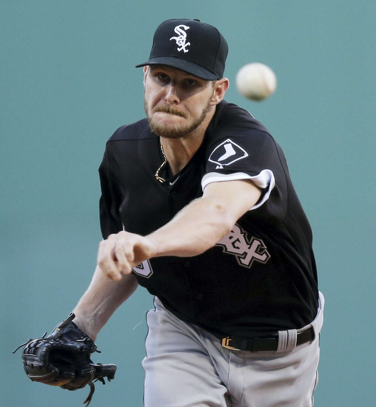 Starting pitcher Chris Sale delivers a pitch during a game at Fenway Park in Boston last season.