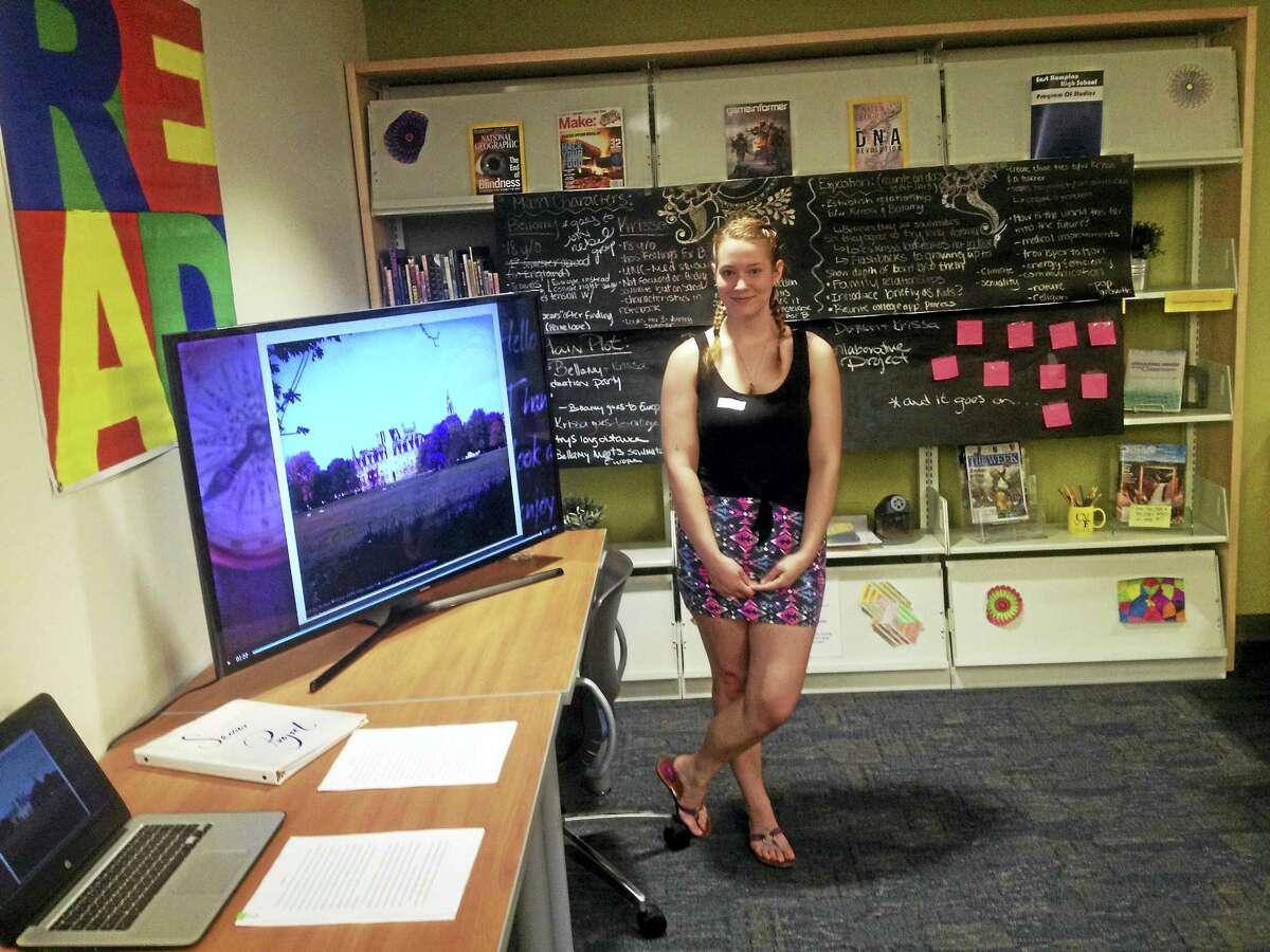 Harley Lyford took part in this week's East Hampton High School Capstone Expo.