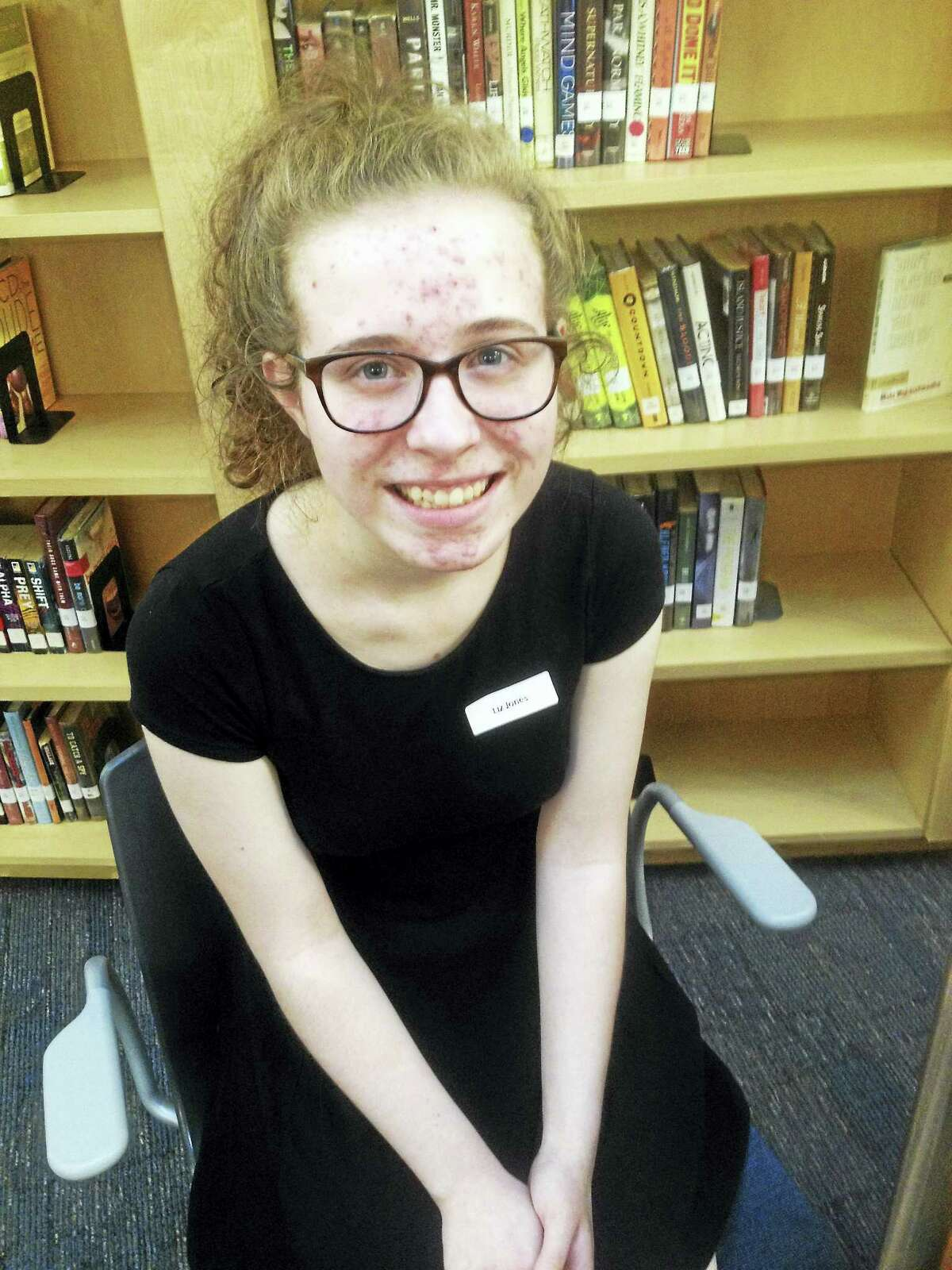 """For her high school project Liz Jones, """"started out by writing a play. That didn't work out,"""" she said."""
