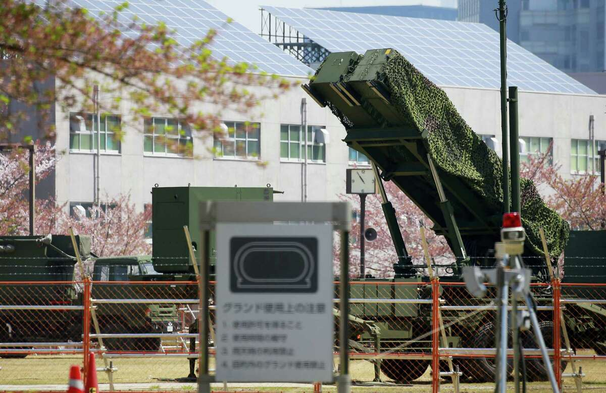 A PAC-3 Patriot missile unit is deployed against the North Korea's missile firing, at the Defense Ministry in Tokyo on April 16, 2017. A North Korean missile exploded during launch Sunday from the country's east coast, U.S. and South Korean officials said, a high-profile failure that comes as a powerful U.S. aircraft carrier approaches the Korean Peninsula in a show of force.