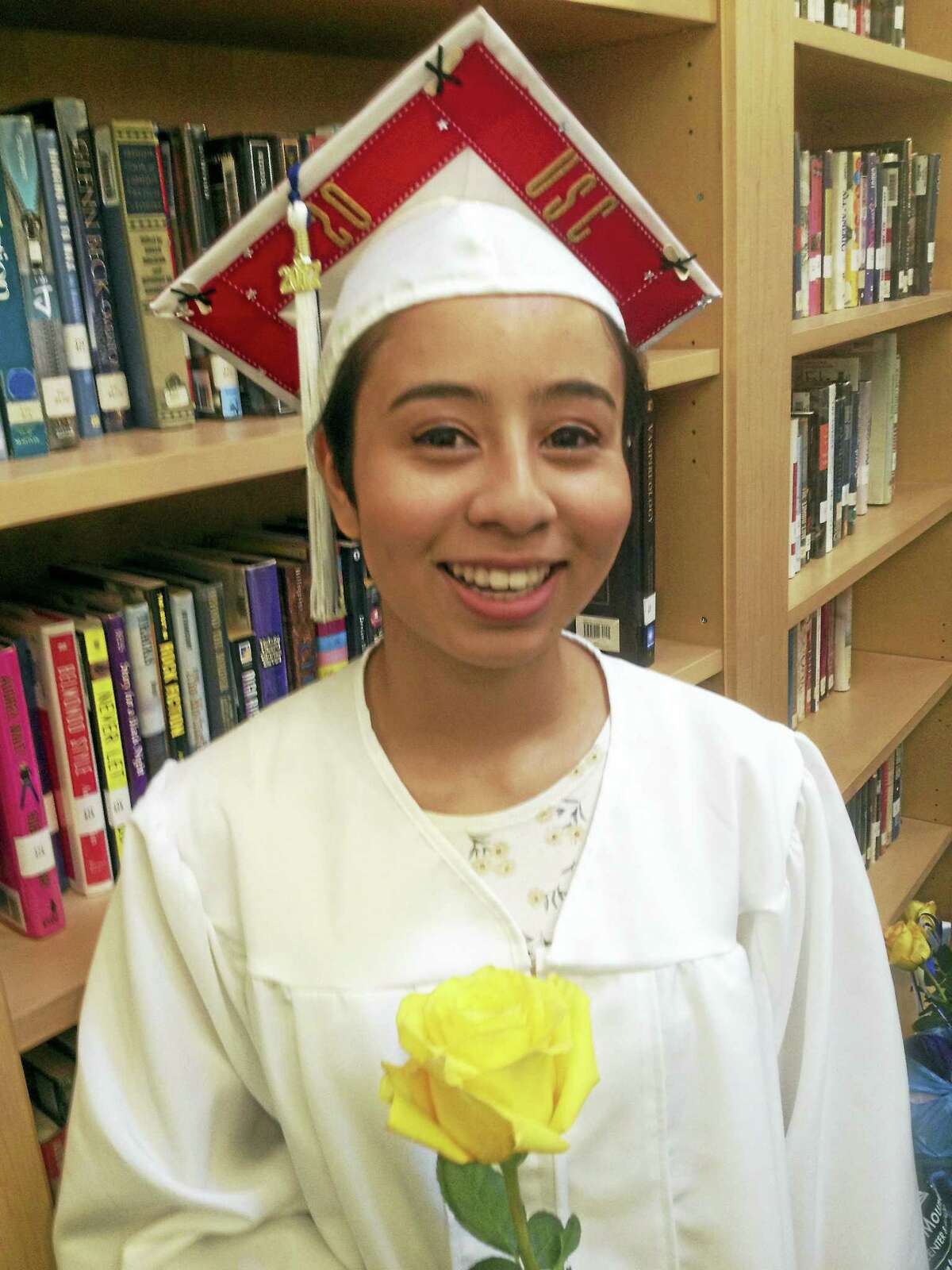 East Hampton High School graduate Signe Lee completed obtained her diploma in three years and spent her freshman year at the University of Southern California. She returned to East Hampton to graduate with her class Monday night.