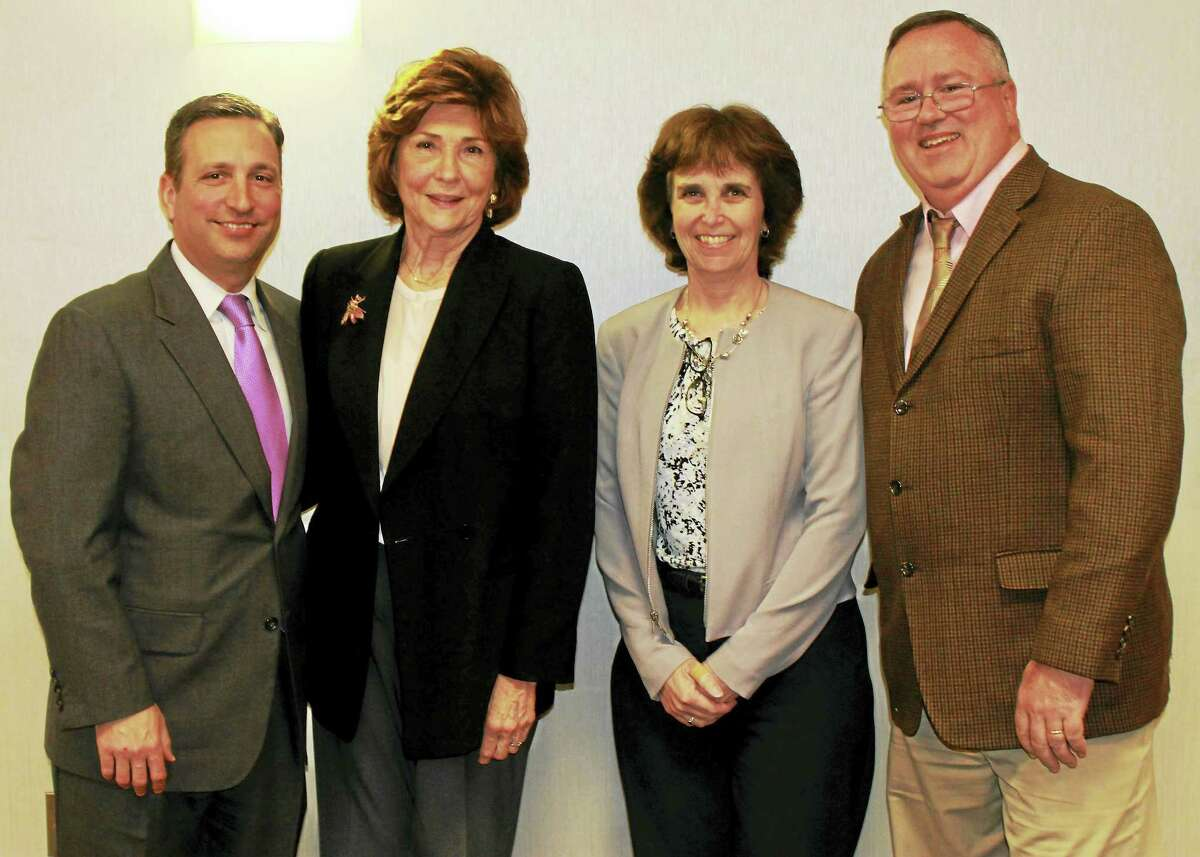 The Middlesex County Chamber of Commerce hosted Connecticut Senate Majority Leader Bob Duff as part of its Legislative Leadership Series on April 10. From left: Duff, Eversource Vice President of Governmental Affairs Peg Morton, Middlesex Chamber's Legislative Committee Co-chair Maureen Westbrook and Eversource Government Affairs Manager Dan Moore.