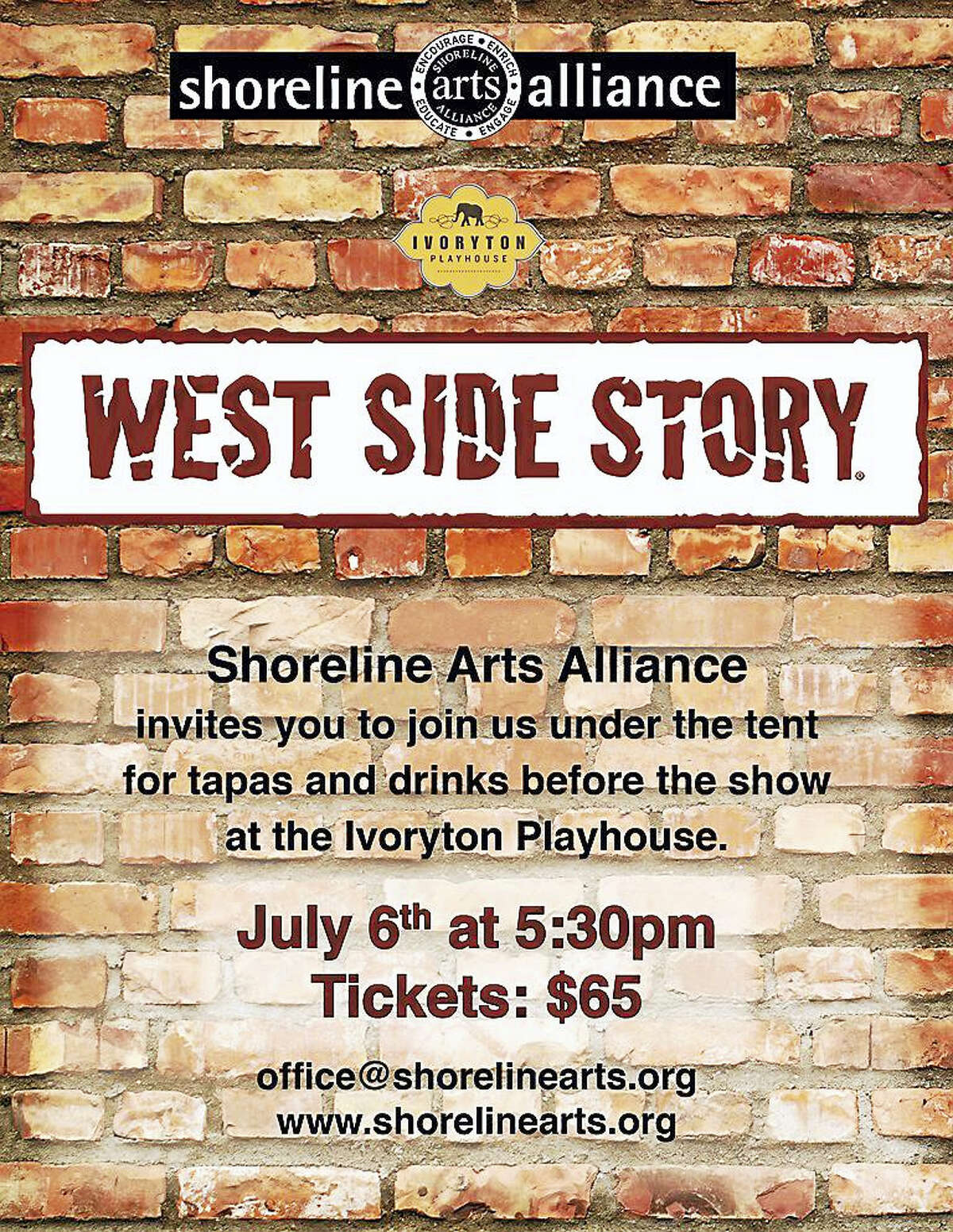 """A fundraiser benefiting Shoreline Arts Alliance will preceded the Ivoryton Playhouse's performance of """"West Side Story"""" on Thursday, July 6."""