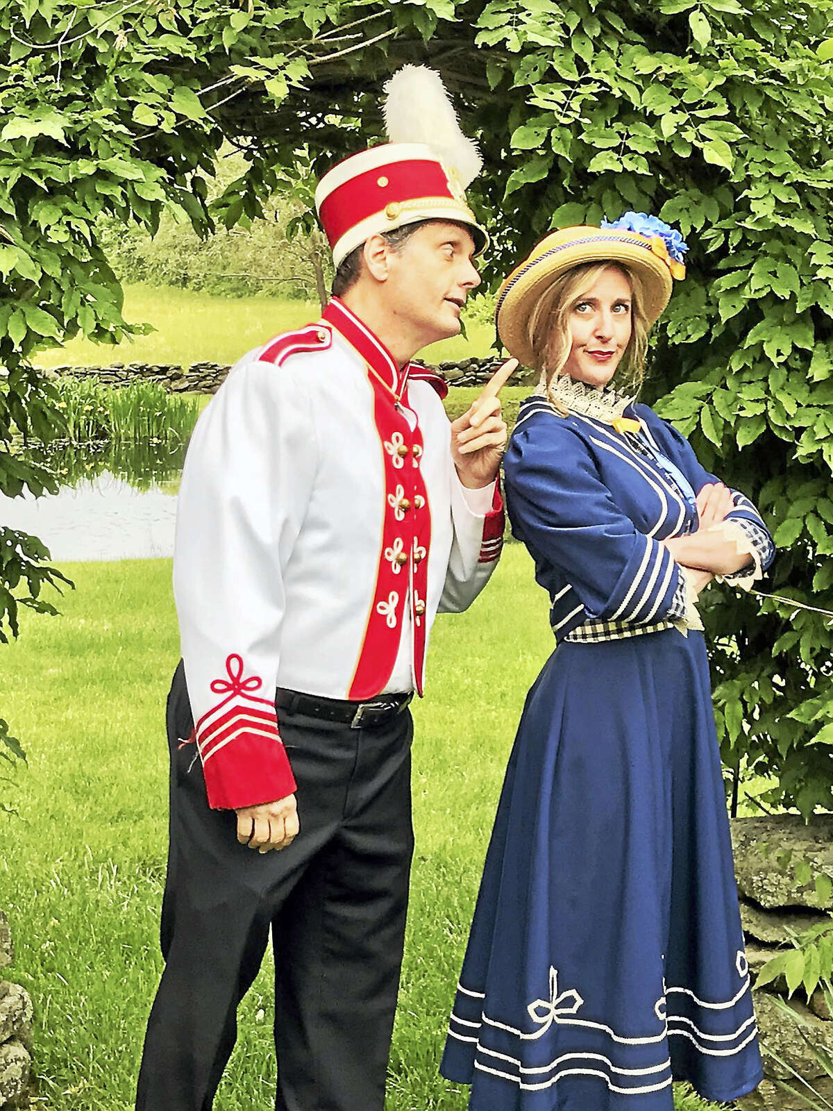 """Mark Gilchrist of Clinton plays Harold Hill and Amy Buckley of Westbrook plays Marian Paroo in Artful Living's production of """"The Music Man."""""""