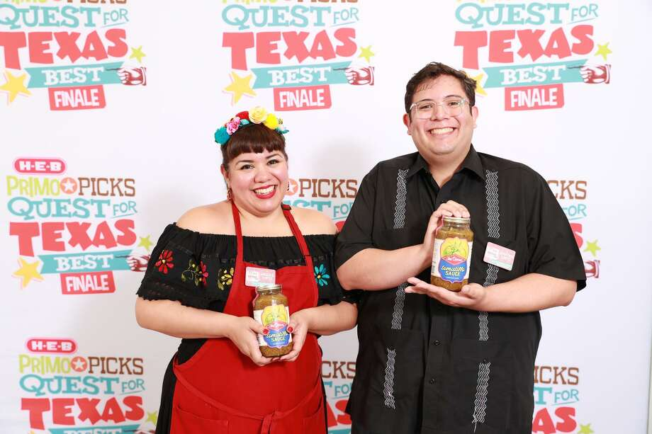 Angelica Cortez and Jonathan Cortez of La Familia Cortez Restaurants claim third place honors and a $10,000 prize for their family's entry, Mi Tierra Salsa Verde Salsa, in the 2017 edition of H-E-B's Primo Picks Quest for Texas Best contest. Photo: Courtesy Ben Porter