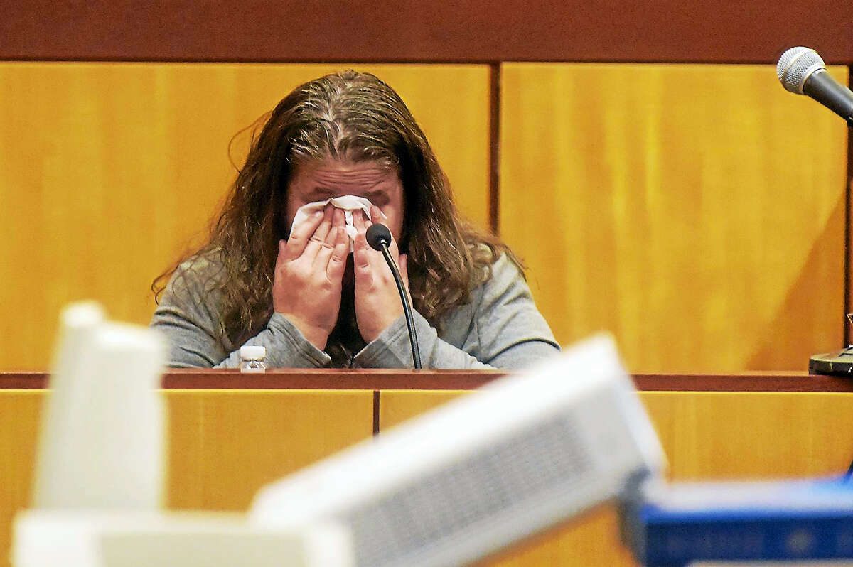 """PATRICK RAYCRAFT — Hartford Courant/Pool """"Just tell everyone I'm sorry,"""" testifies Denise Moreno, the mother of Tony Moreno, about what her son told her when he called her from the Arrigoni Bridge in Middletown on July 5, 2015."""